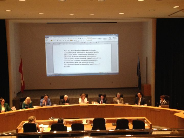 The Edmonton Public School Board is asking the province phase out public funding for private schools in Alberta.