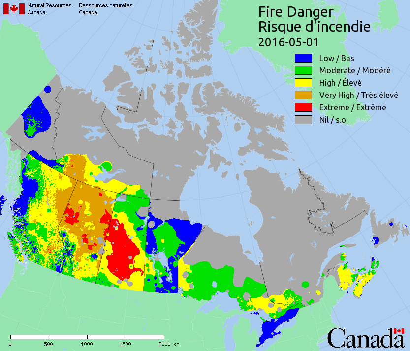 Many parts of Saskatchewan and Alberta are under an extreme risk for forest fires according to the latest data from Natural Resources Canada.