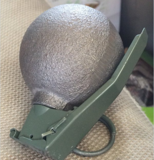 """Staff Sgt. Rick Stewart of the Abbotsford Police Department posted a picture of an """"inert"""" grenade on Twitter."""