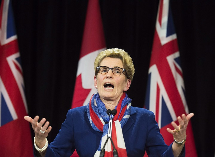 Ontario Premier Kathleen Wynne's speaks during a press conference regarding the political fundraising question at Queen's Park in Toronto on Monday, April 11, 2016.