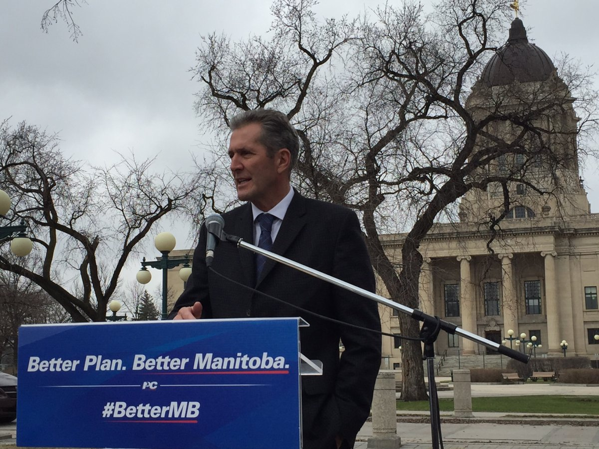 The Premier-elect, Brian Pallister makes a speech on his first day on the job.