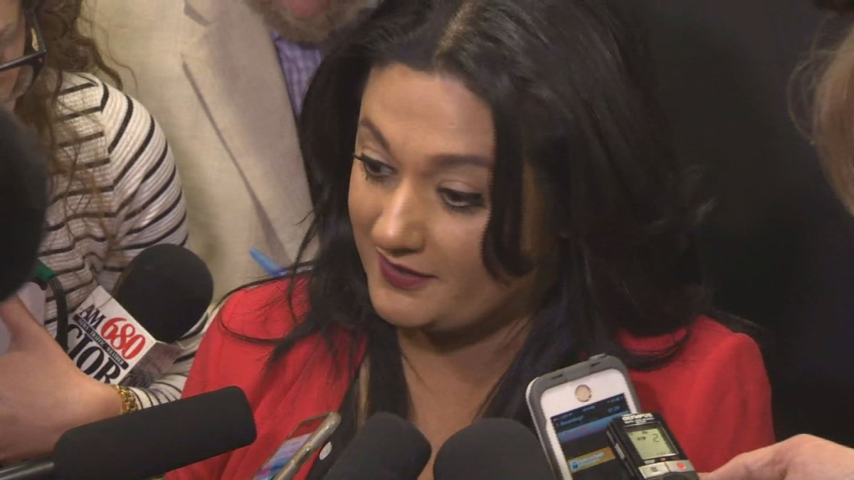 Rana Bokhari, seen here on April 19 shortly after the Progressive Conservative majority win, will stay on to lead the party, .