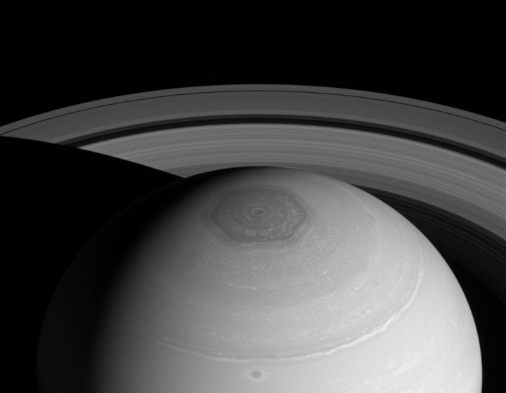 The strange hexagonal storm on Saturn.