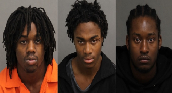 Gavin Campbell, 20 (left), Trian Vassel, 19 (centre) and Keyon Small, 20 (right) have been charged in sexual assault investigation. Police believe there may be other victims.