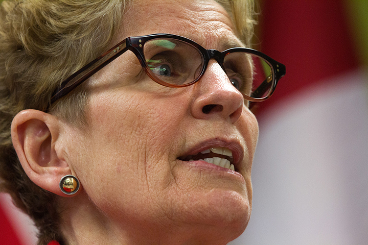 Ontario Premier Kathleen Wynne speaks in Kingston, Ont., on March 31, 2016.