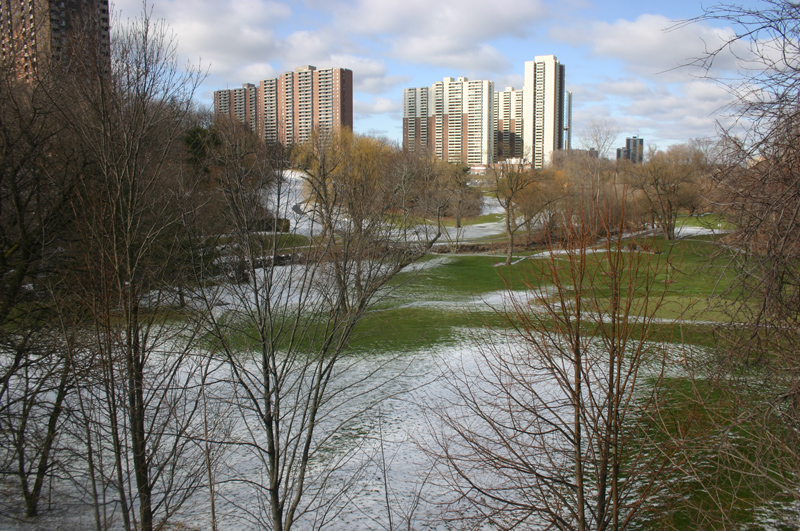 Apartment towers loom over Toronto's Dentonia Park golf course. The census tract they fall into has more native speakers of Bengali than English and nearly 600 children under the age of five. About a third of adult residents spent at least some time on welfare in 2010, tax data shows.
