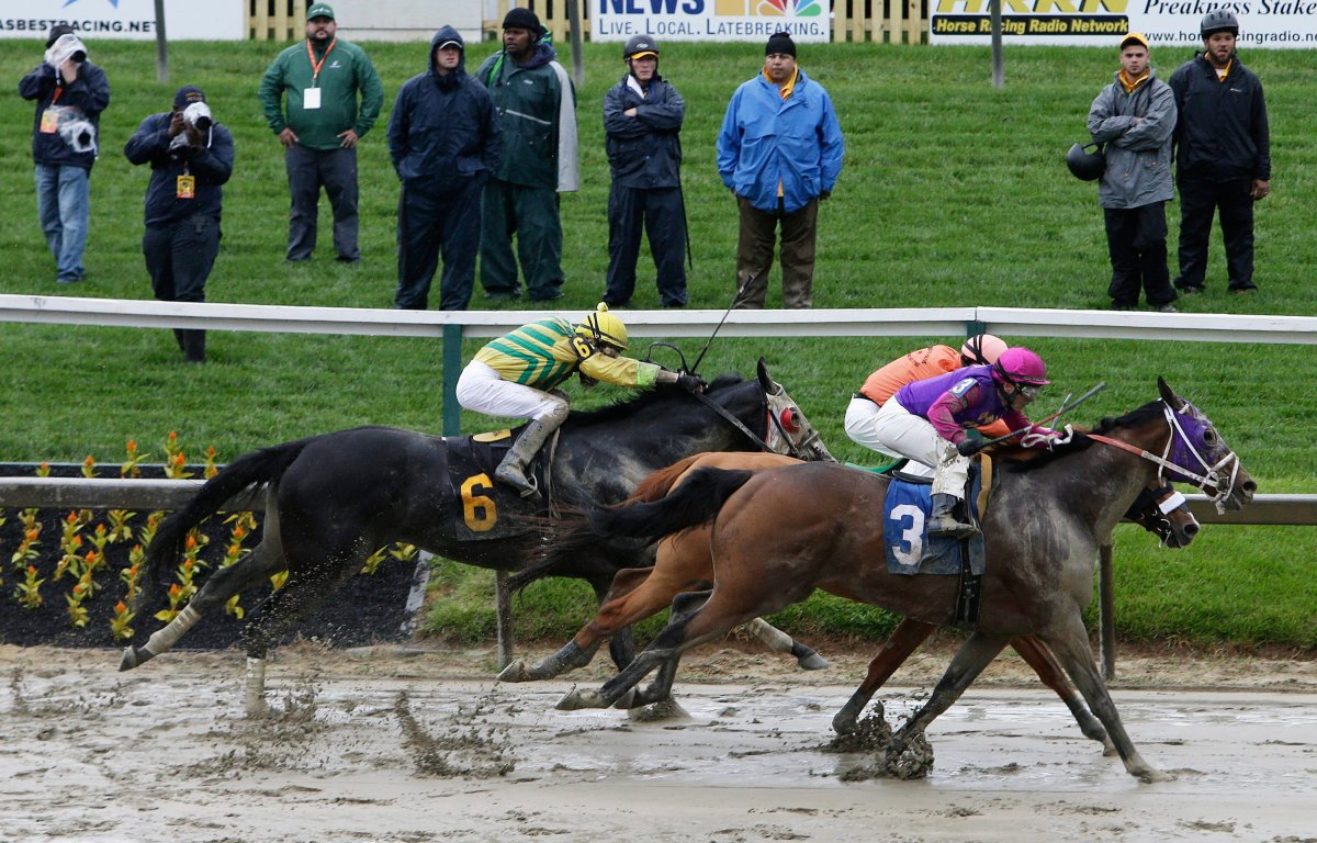 Homeboykris (3), ridden by Horacio Karamanos, moves to the finish in the first race of the day on a muddy track ahead of the 141st Preakness Stakes horse race at Pimlico Race Course, Saturday, May 21, 2016, in Baltimore.  The horse died of what's believed to be cardiovascular complications not long after winning the race.
