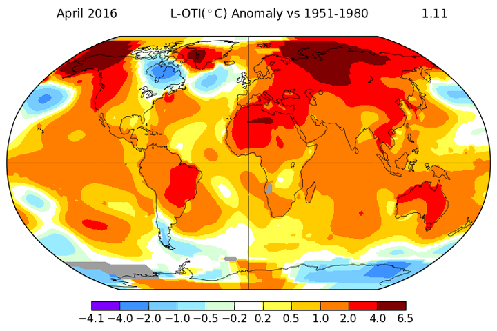 Temperature anomalies during the month of April 2016.