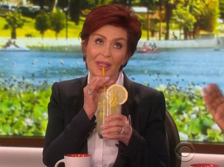 Sharon Osbourne sips lemonade on 'The Talk.'.