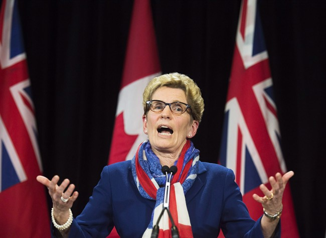 Ontario Premier Kathleen Wynne speaks during a press conference at Queen's Park in Toronto in an April 11, 2016, file photo.