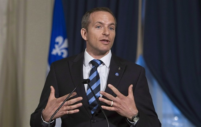 Astronaut David Saint-Jacques speaks after he received the honourary medal of the National Assembly.