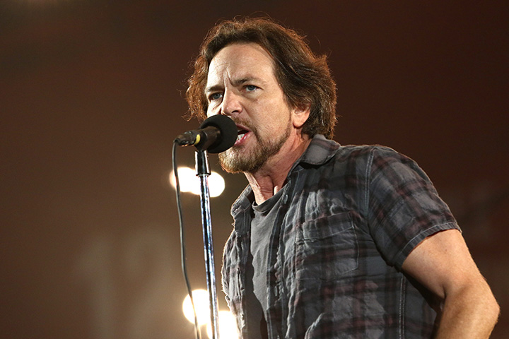 Eddie Vedder, of Pearl Jam, performs at the Global Citizen Festival in Central Park in New York.