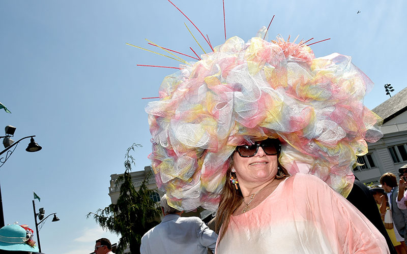 Derby attendee poses during the 142nd Kentucky Derby at Churchill Downs on May 07, 2016 in Louisville, Kentucky.