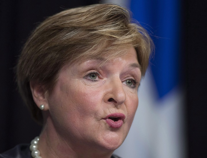 Quebec Auditor General Guylaine Leclerc, shown above, on May 27, 2015, has harsh words for the way the province's clinics bill for medical user fees.