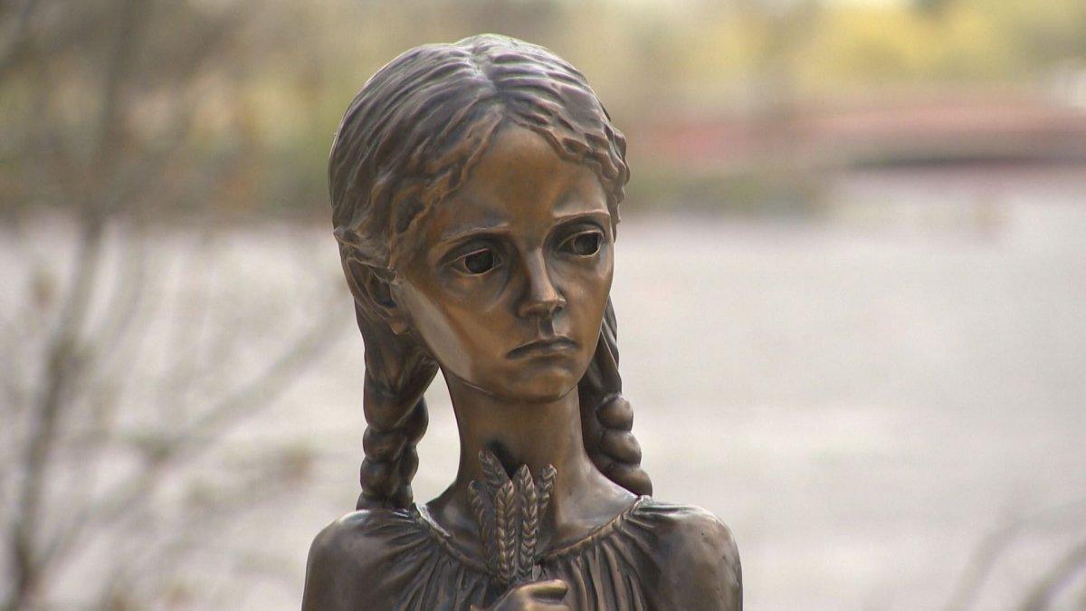 Saskatchewan's Holodomor statue in Wascana Park.