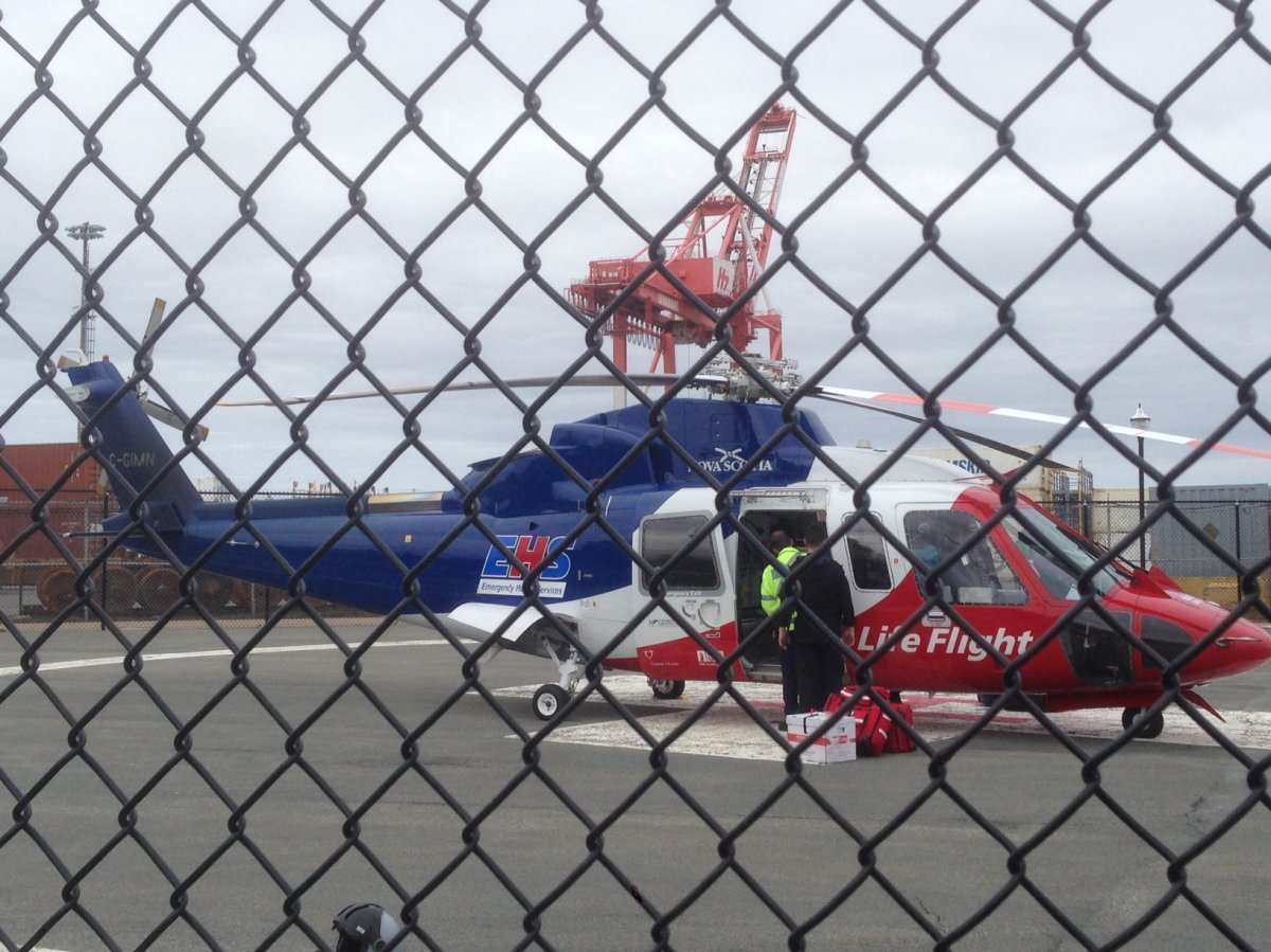 A LifeFlight helicopter is seen landing at Point Pleasant Park in Halifax.