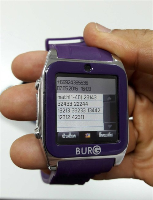 A smartwatch used by students caught cheating in exams for admission to medical and dental faculties in Bangkok, Thailand.