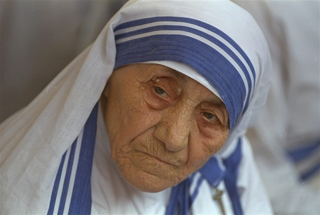 Mother Teresa photographed in New Delhi, India, Aug. 25, 1993.