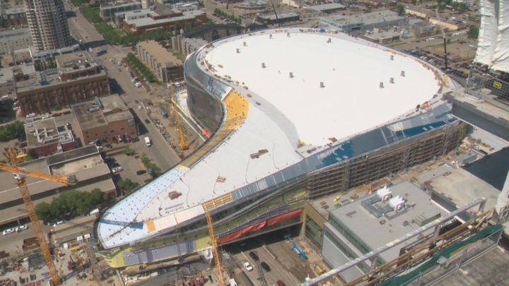 A view of Rogers Place from the Edmonton Tower on May 25, 2016.