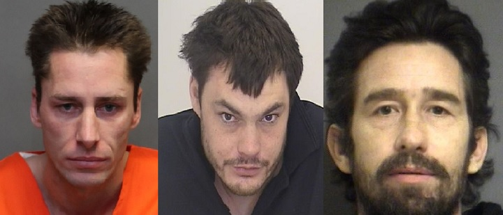 Joshua Moskaluk, 37 (left), Brian Eric Rutherford, 38 (centre), Chance Jeanson, 43 (right), wanted in Break-and-Enter investigation.