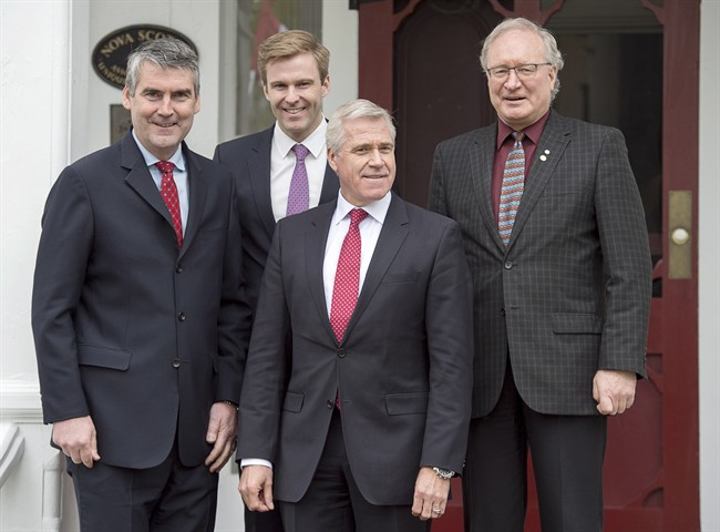 Nova Scotia Premier Stephen McNeil, New Brunswick Premier Brian Gallant, Newfoundland and Labrador Premier Dwight Ball and Prince Edward Island Premier Wade MacLauchlan, left to right, attend a meeting of the Council of Atlantic Premiers in Annapolis Royal, N.S. on Monday, May 16, 2016.