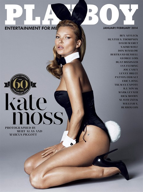 Supermodel Kate Moss is shown on the Jan.-Feb., 2014 cover of Playboy magazine, part of the evidence in a lawsuit Playboy has filed against two Canadian publications.