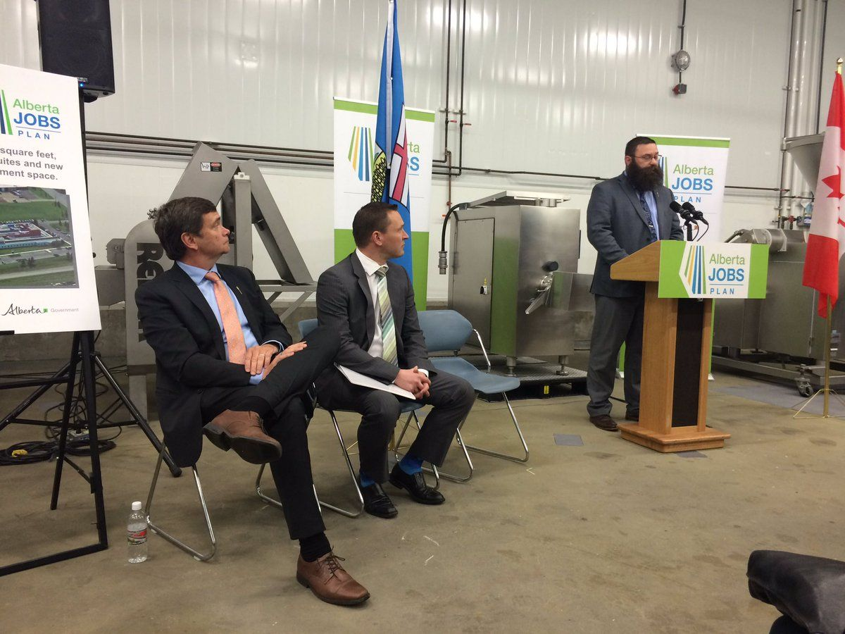 The Alberta government  announces $10 million to expand the Agrivalue Processing Business Incubator and Food Processing Development Centre, Tuesday, June 14, 2016.