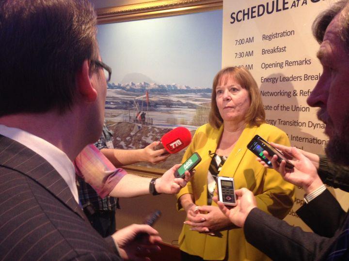 Alberta energy minister Marg McCuaig-Boyd answers questions June 8, 2016.