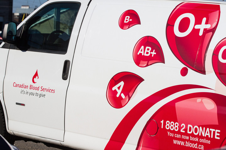 A van belonging to Canadian Blood Services
