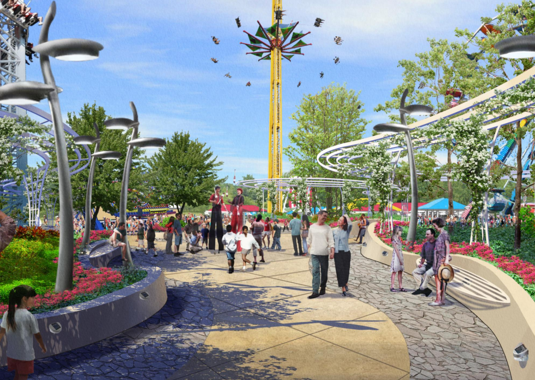 """An artists rendering of what a new area in PlayLand, called """"The Park"""", might look like."""