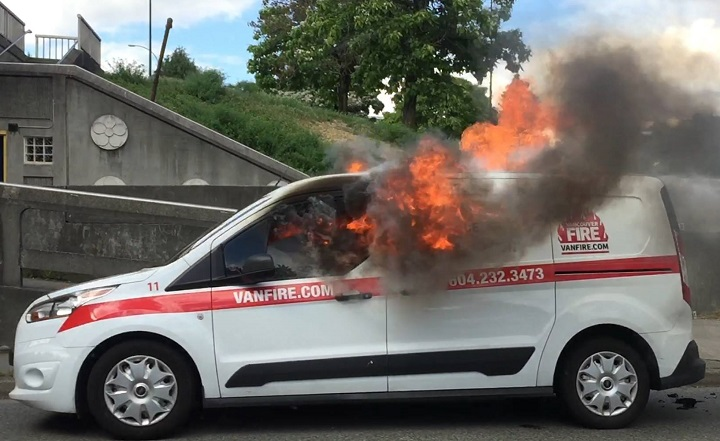 A service van for a fire prevention company burst caught fire on a Vancouver street Monday afternoon.