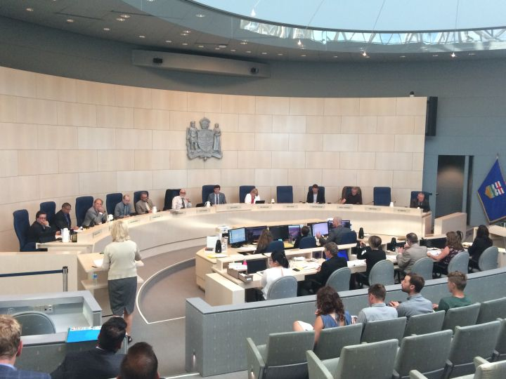 Edmonton city council debates whether to approve a proposed, 45-storey residential tower on June 27, 2016.
