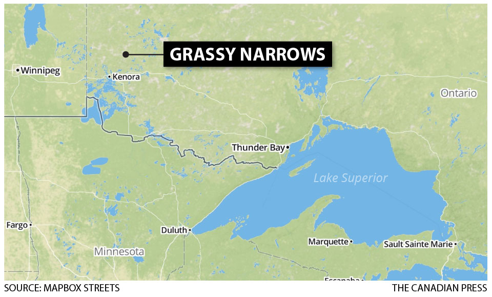 A map showing Grassy Narrows.