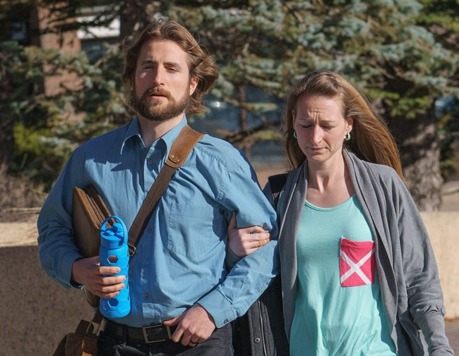David Stephan and his wife Collet Stephan arrive at court in Lethbridge, Alta., on March 10, 2016.