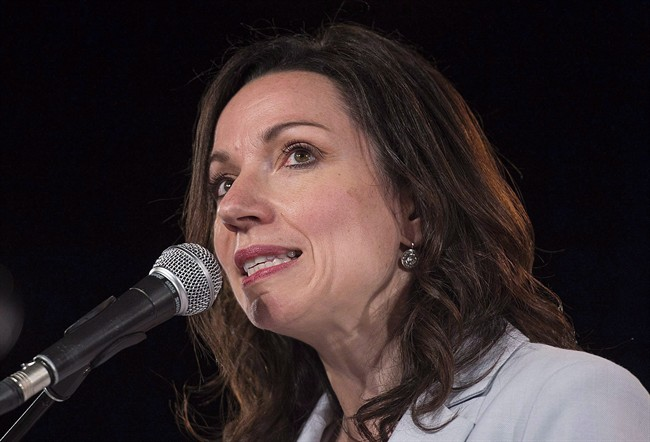 Martine Ouellet speaks to supporters in Montreal in a May 27, 2016, file photo. The Bloc Québécois leader will face a confidence vote over in early June after seven of 10 Bloc MPs resigned over her leadership. Monday, March 26, 2018.