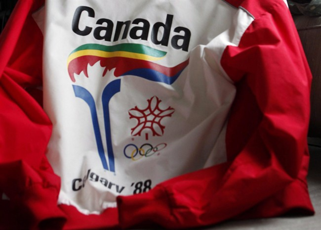 A uniform from the 1988 Olympic torch run is seen in Calgary on Thursday, Oct. 8, 2009.