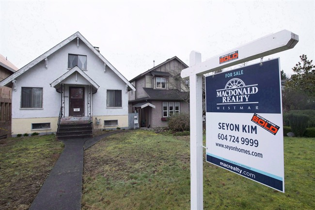 A sold home is pictured in Vancouver on Feb. 11, 2016.