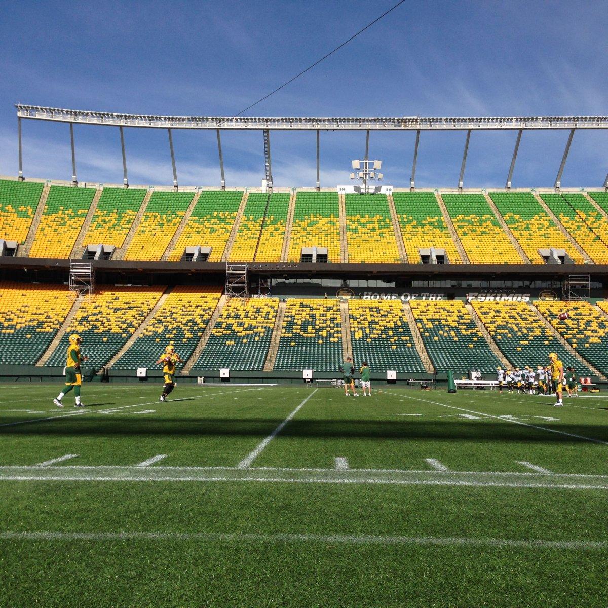 The Edmonton Eskimos practice at Commonwealth Stadium in preparation for their final pre-season game, Tuesday, June 14, 2016.