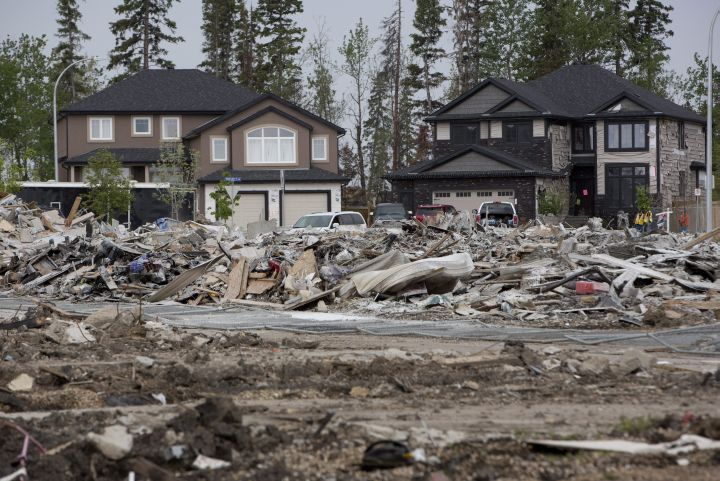 The devastated neighbourhood of Timberlea in Fort McMurray Alta. is shown on Wednesday June 1, 2016. Residents returned after being evacuated during wildfires.
