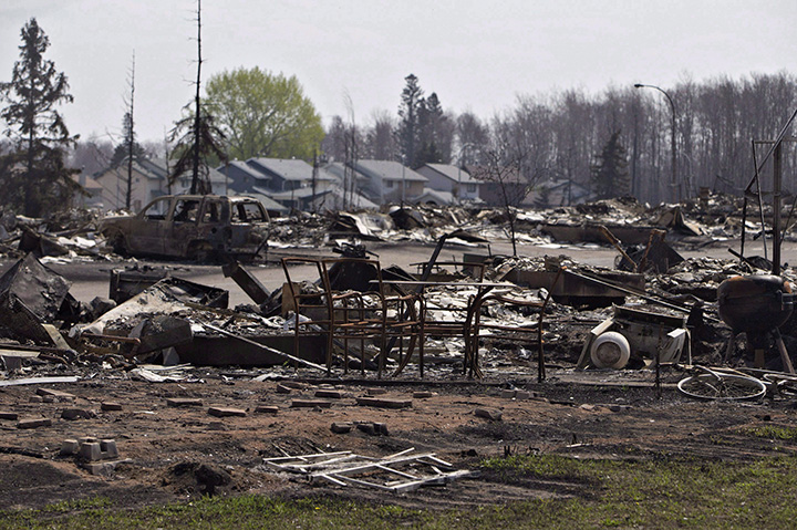The devastated neighbourhood of Beacon Hill is shown in Fort McMurray, Alta., on Friday, May 13, 2016.