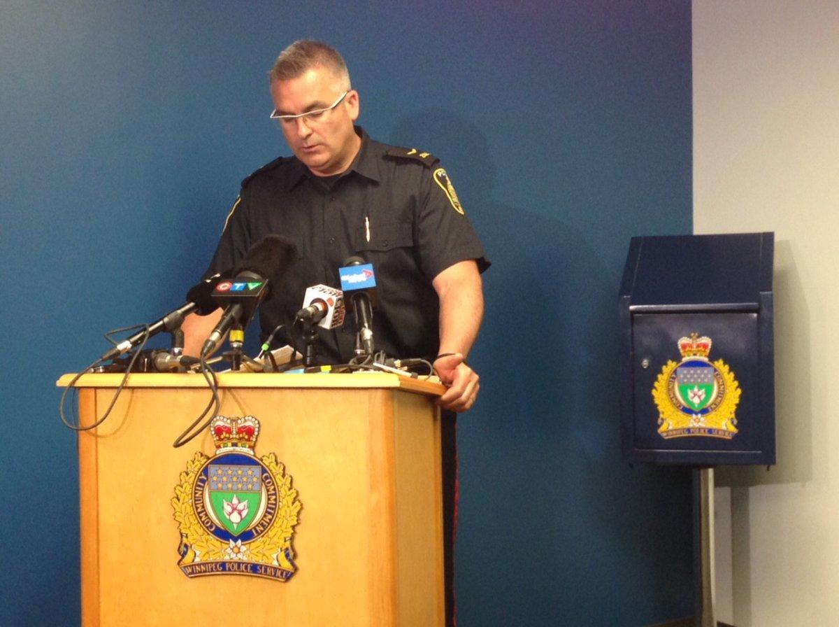 Constable Jason Michalyshen briefs media after two missing children were found unharmed on Friday.