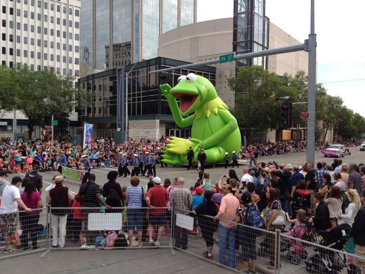 The K-Days Parade makes its way through downtown Edmonton.