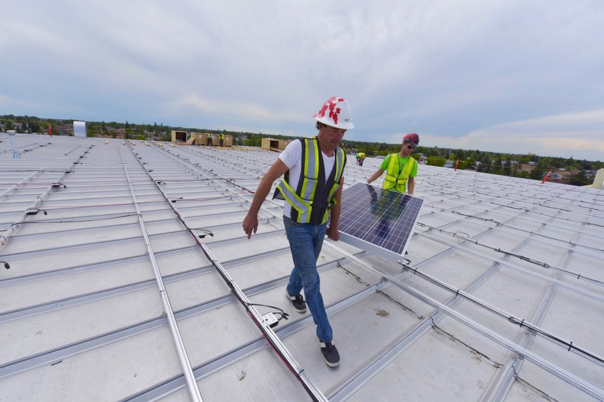"""ENMAX is putting the finishing touches on a project it bills as """"Canada's largest rooftop solar array,"""" which is expected to begin producing electricity in Leduc by July 31, 2016."""