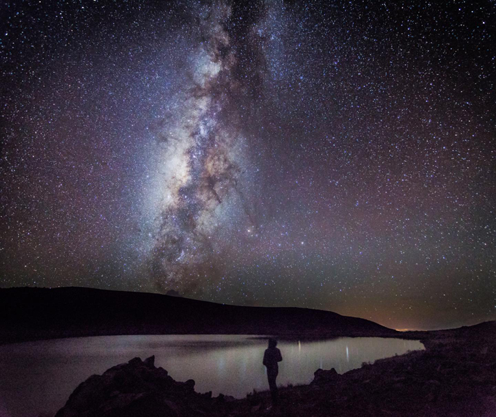 The Milky Way and Galactic Center rise over Lake Waiau on the summit of Mauna Kea.