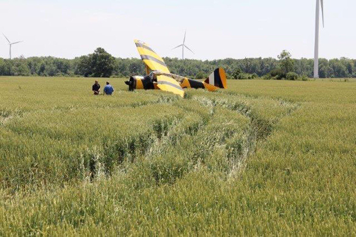 The Canadian Warplane Heritage Museum released this photo of a Second World War plane that crash landed in a field near Cayuga, Ont. on June 18, 2016.