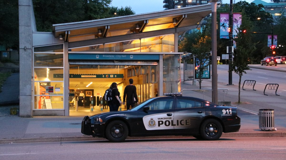 Vancouver Police outside the Broadway City SkyTrain Station.