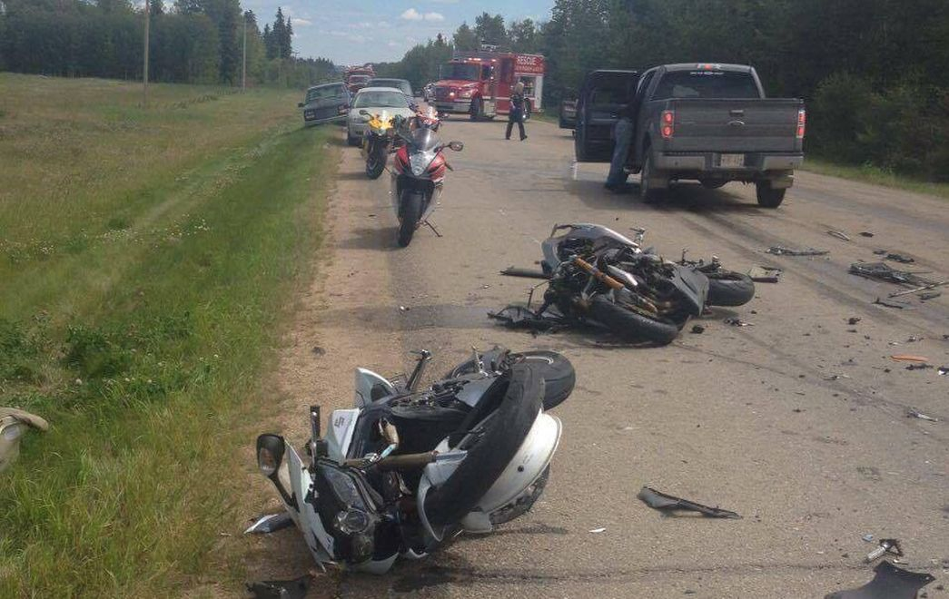 A crash south of Pigeon Lake Saturday left one man dead and five other riders injured.