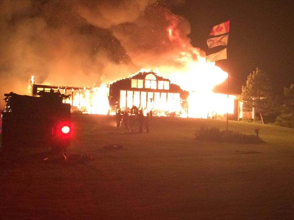 A fire ripped through the clubhouse at the Bell Bay Gold Course in Cape Breton, N.S. overnight. Police say no one was injured in the blaze.