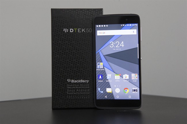 The BlackBerry DTEK50 is pictured at its launch in Toronto on Tuesday, July 26, 2016. THE CANADIAN PRESS/Chris Young.