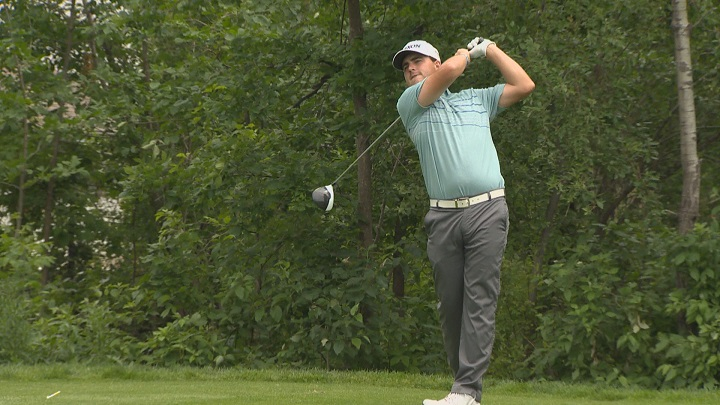 Aaron Cockerill tees off during a practice round for the Players Cup at the Niakwa Country Club.